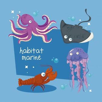Xxxおよび海の野生の海洋動物、海の世界の住人、かわいい水中の生き物、熱帯の海中動物群
