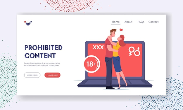 Xxx movie entertainment landing page template. adult sensitive content. tiny characters kissing at huge laptop, erotic video. age restriction, online cinema show. cartoon people vector illustration