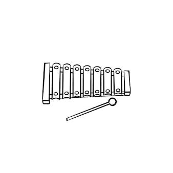 실로폰 장난감 손으로 그린 개요 낙서 아이콘. 흰색 배경에 격리된 인쇄, 웹, 모바일 및 인포그래픽을 위한 스틱 벡터 스케치 삽화가 있는 어린이 악기.