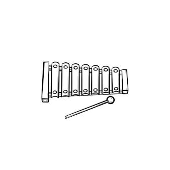 실로폰 장난감 손으로 그린 개요 낙서 아이콘. 흰색 배경에 격리된 인쇄, 웹, 모바일 및 인포그래픽을 위한 스틱 벡터 스케치 삽화가 있는 타악기.
