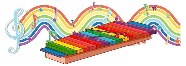 虹の波にメロディー記号が付いた木琴