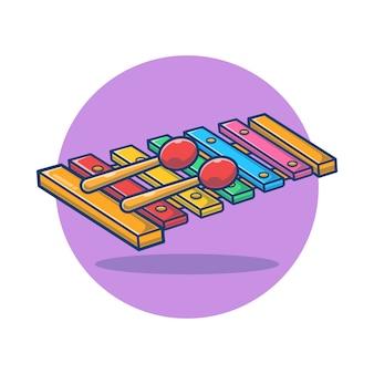 Xylophone with sticks cartoon   illustration