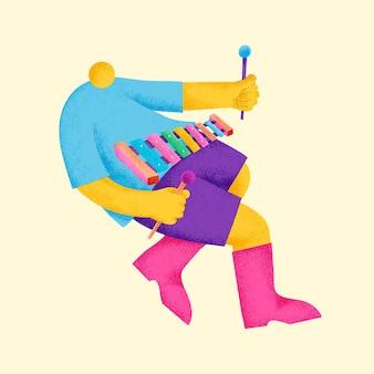 실로폰 연주자 스티커 벡터 다채로운 음악가 그림