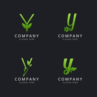Начальный логотип y с элементами листа зеленого цвета