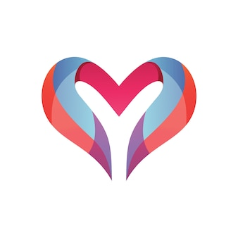 Буква y и логотип любви