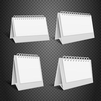 空白の机の紙のカレンダー。春のベクトル図と空の折り返し封筒。カレンダーyをモックアップ