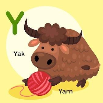 Иллюстрация изолированных животных алфавит буква y-як, пряжа