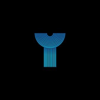 輝くテクノブルーのy字のロゴが縞模様。ロゴテンプレート