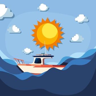 Яхта на берегу океана