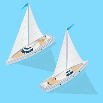 Яхта лодка набор изометрический вид