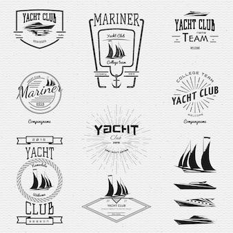 요트 클럽 배지 로고 및 라벨