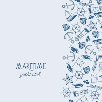 Плакат с дизайном яхт-клуба с многочисленными морскими символами спереди и синим текстом слева на синем фоне