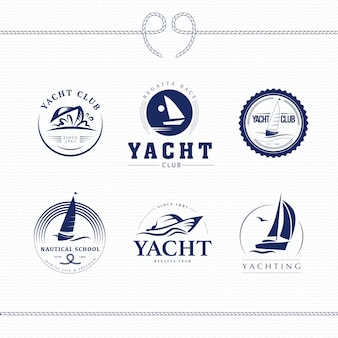 Yacht club logo design  collection vector illustration.