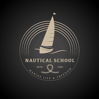 Yacht club logo design vector illustration.