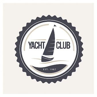 Yacht club logo design vector illustration.