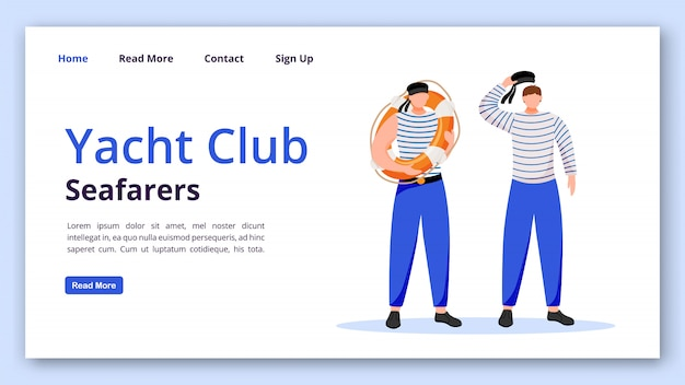 Yacht club seafarers landing page  template. sailors website interface idea with  illustrations. yachting homepage layout. sailing web banner, webpage cartoon concept