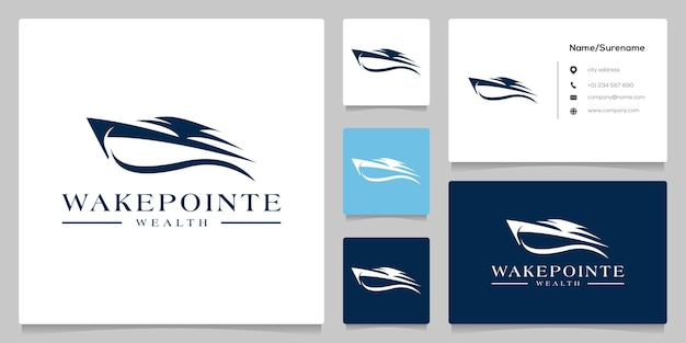 Яхта круиз моторная лодка дизайн логотипа иллюстрация