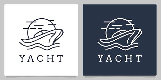 Яхта круизная моторная лодка с дизайном логотипа