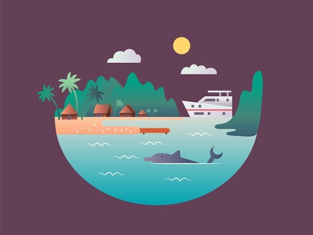 Яхта плывет у тропических берегов. пляж с морской или океанской водой, пейзажная природа, остров для отдыха, путешествия,