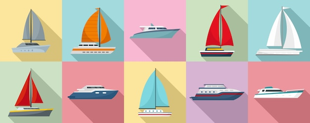 Yacht icon set