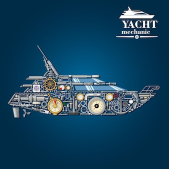 Yacht mechanics scheme with motor boat formed of engine parts and anchor