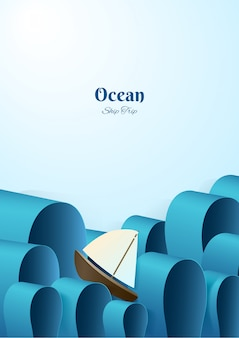 Yacht in paper style in the high seas