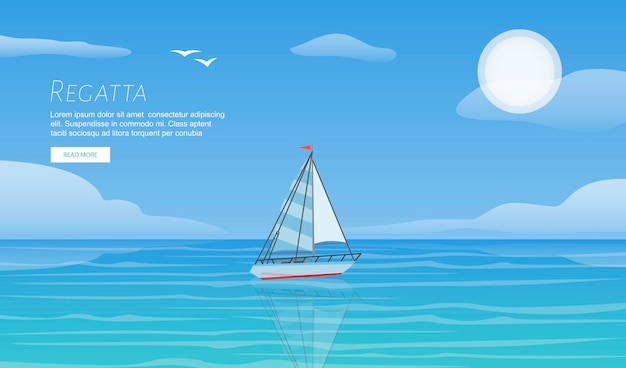 Yacht regatta on wave blue sea ocean template. yachting summer vacation sport travel adventure.