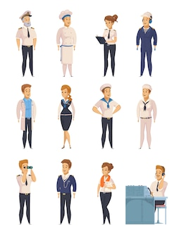 Yacht ship cartoon characters set