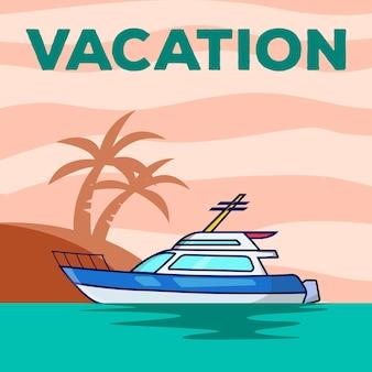 Yacht vacation poster vector illustration design