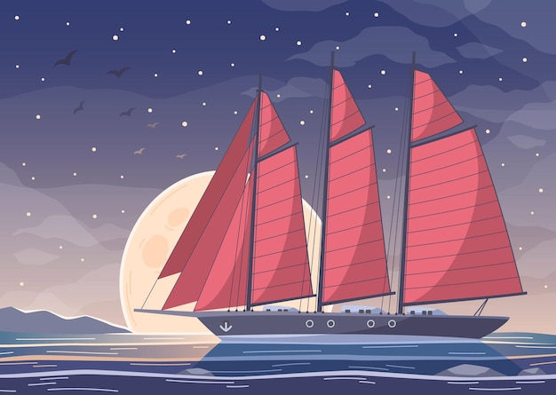 Yachting cartoon composition of big boat with red sails crossing bay water on night sky