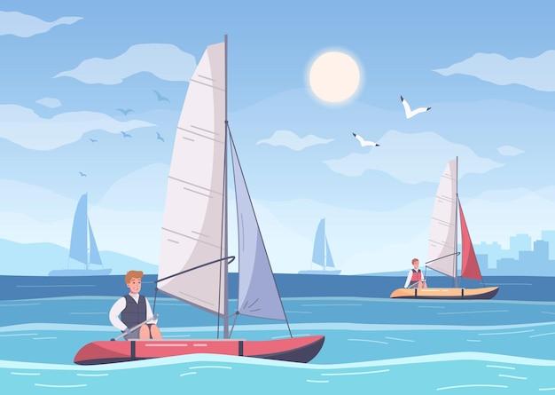 여름 바다 풍경과 선원의 인간 캐릭터와 요트 만화 구성