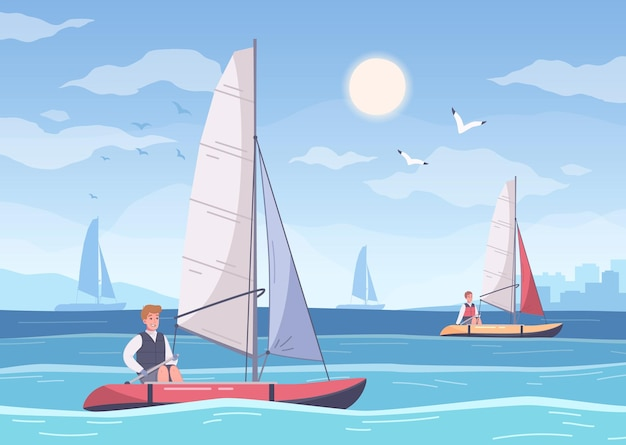 Yachting cartoon composition with summer sea scenery and human characters of sailors