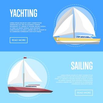 Yachting and sailing banner set with sailboats