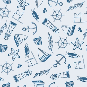 Yachting  seamless pattern with many maritime elements such as coquille, seaweed, stones on the blue