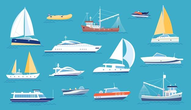 Яхты и парусники. малый морской транспорт, катер и рыболовецкое судно. плоская морская лодка для регаты, океанское судно с парусом или мотором, векторный набор. роскошный транспорт для отдыха и автомобиль для рыбалки