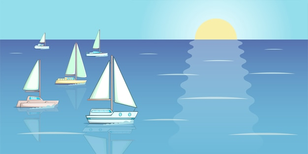 Yachts regatta banner horizontal, cartoon style