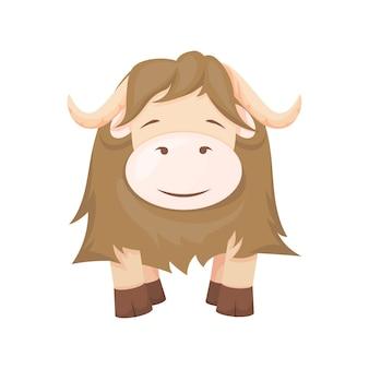 Yak cartoon animal character farm bull vector illustration. brown cow cute cattle. horned zoo wild mammal.