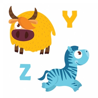 Yak and zebra with alphabet letters