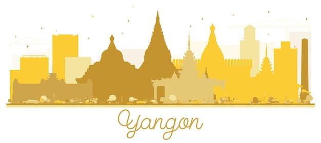ヤンゴン市のスカイラインの黄金のシルエット。観光プレゼンテーション、バナー、プラカードまたはwebサイトのシンプルなフラットコンセプト。ランドマークのあるヤンゴンの街並み。ベクトルイラスト。