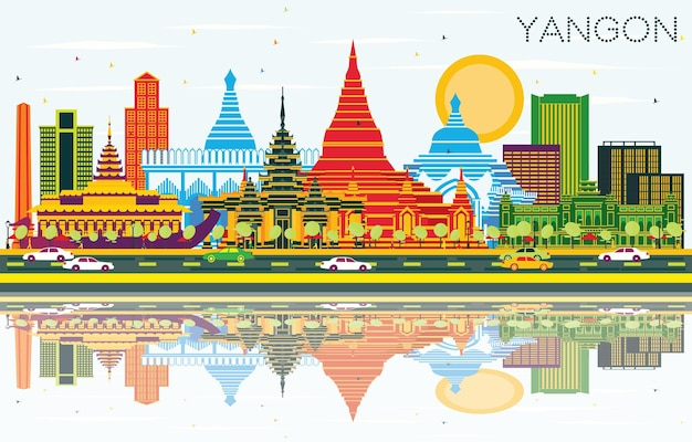 Yangon myanmar city skyline with color buildings, blue sky and reflections. vector illustration. business travel and tourism concept with historic architecture. yangon cityscape with landmarks.