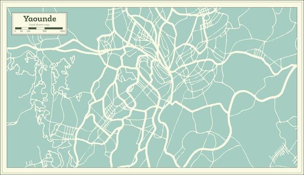 복고 스타일의 야운데 카메룬 도시 지도. 개요 지도. 벡터 일러스트 레이 션.