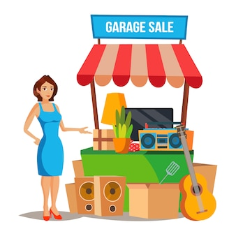 Yard sale vector. household items sale