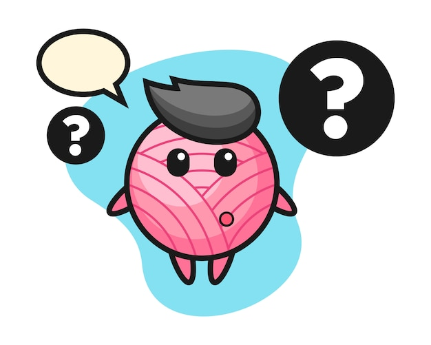 Yarn ball cartoon with the question mark