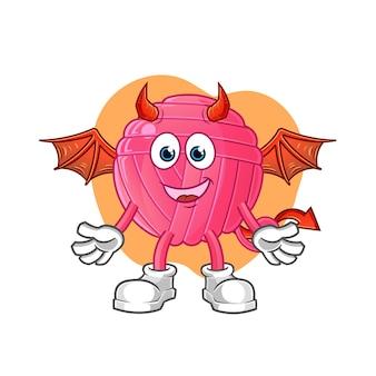 Пряжа мяч демон с персонажем крыльев. мультфильм талисман