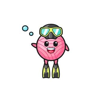 The yarn ball diver cartoon character , cute design