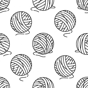 Yarn ball seamless pattern
