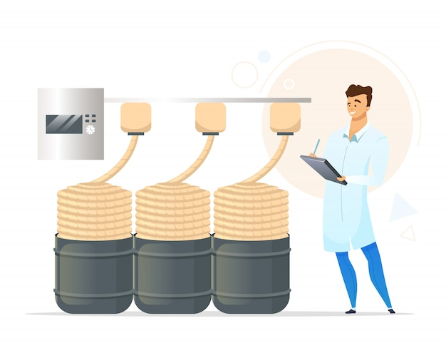 Yarn production flat color illustration. male factory worker. knitting yarn manufacturing. ropemaking. man checking product quality. isolated cartoon character on white background
