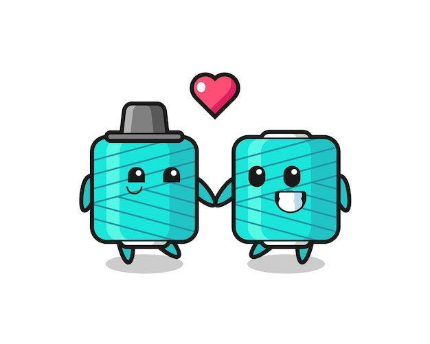 Yarn spool cartoon character couple with fall in love gesture , cute style design for t shirt, sticker, logo element