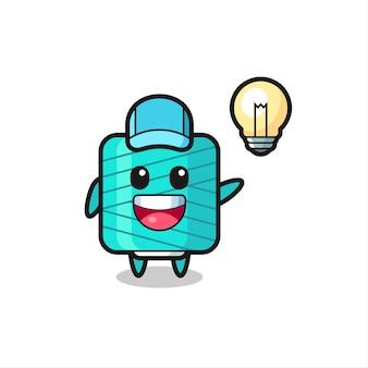 Yarn spool character cartoon getting the idea , cute style design for t shirt, sticker, logo element