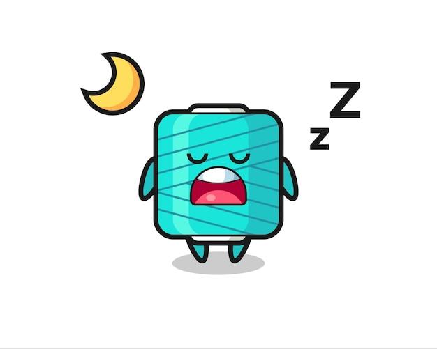 Yarn spool character illustration sleeping at night , cute style design for t shirt, sticker, logo element